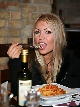 Sexy Anette Dawn Enjoys A Glass Of Wine And Spaghetti